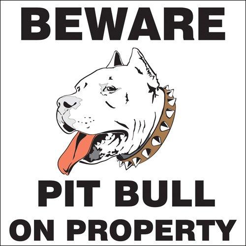 Beware Pit Bull On Property Sticker (Caution Warning Guard Dog Safety k9)
