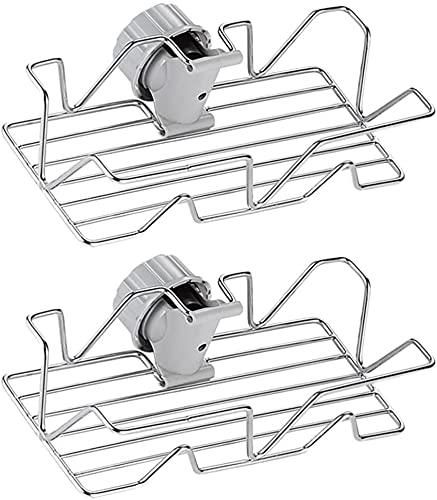 Soporte de esponja Fregadero Caddy Faucet Rack Organizador de fregadero de cocina Estante de almacenamiento de acero inoxidable Canasta de fregadero Organizador de baño para baño Cocina 2 piezas