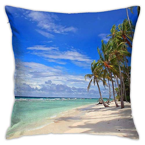 WH-CLA Couch Cushions Tropical Beach-Island Sky Clouds Funda De Almohada Cremallera para El Hogar Funda De Almohada Duradera Sala De Estar 45X45Cm Funda De Almohada Regalo De Cumpleaños