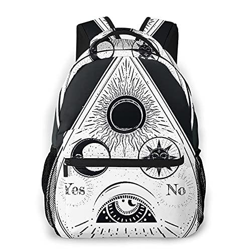 Freizeitrucksack Mini-Taschen, Vintage Alchemist Bohemian Ouija, der aus Gravur besteht Esoterisches Auge Mond Design All Seasons Unisex Große Kapazität Langlebig Schule Outdoor Tägliche Tagesrucksäc