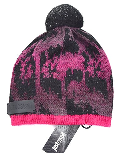 Just Cavalli CAPPELLO BERRETTO A CUFFIA DONNA NERO E FUXIA ART. E3E040730 UNICA - UNIQUE FUXIA E NERO - FUXIA AND BLACK