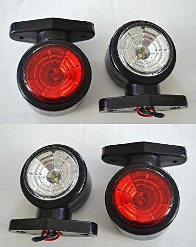 Périmètre LED 12 V rouge blanc 4 x lumières avec 2 LED pour camion, bus, caravane, camping-car