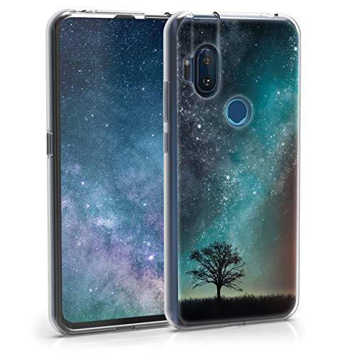 kwmobile Hülle kompatibel mit Motorola One Hyper - Handyhülle - Handy Hülle Galaxie Baum Wiese Blau Grau Schwarz