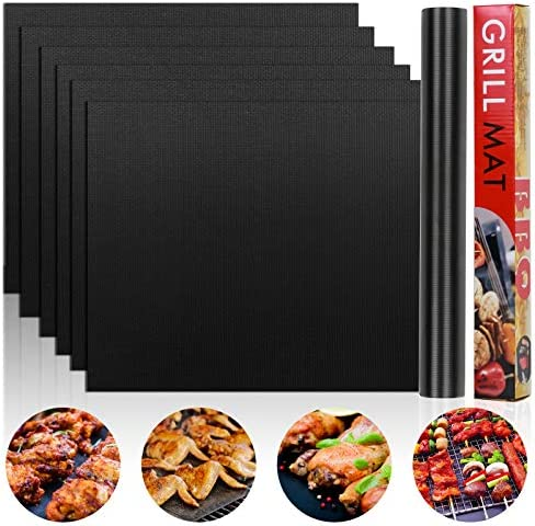 Grill Mat Set of 6 Non Stick BBQ Grill Mats Heavy Duty Reusable and Easy to Clean Easy Clean product image