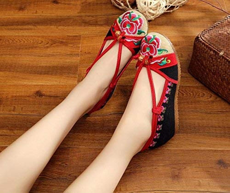 Fuxitoggo Bestickte Schuhe, Sehnensohle, Sehnensohle, Sehnensohle, Ethno-Stil, weibliche Stoffschuhe, Mode, bequem, lässig, schwarz, 41 (Farbe   -, Größe   -)  e60e91