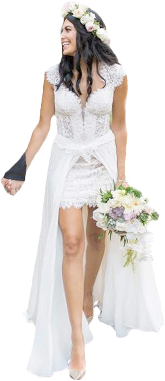 CY Lace Short Beach Wedding Dresses with Chiffon Overskirts Capped ...