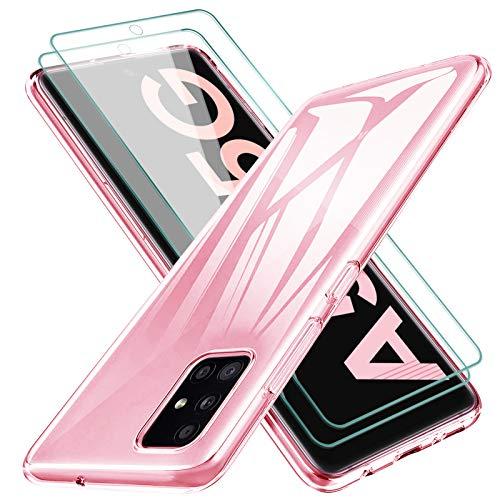 KEEPXYZ Funda para Samsung Galaxy A51 5G Silicona Transparente TPU Antigolpes + 2 Pcs Protector de Pantalla para Samsung...