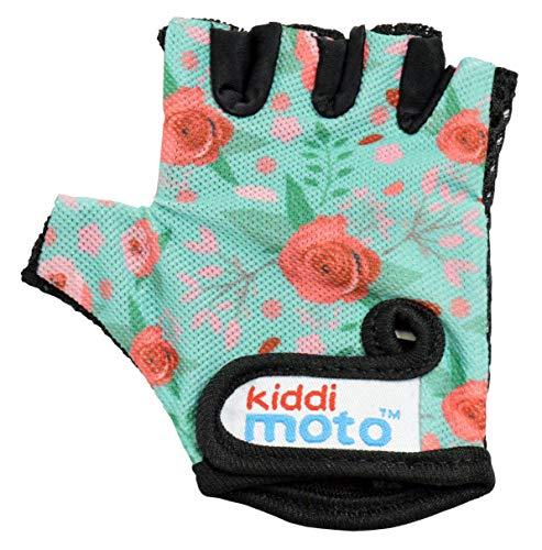 KIDDIMOTO Kinder Fahrradhandschuhe Fingerlose für Jungen und Mädchen/Fahrrad Handschuhe/Bike Kinder Handschuhe - Blumen - S (2-5y)