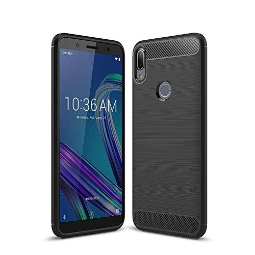 Asus Zenfone Max Pro (M1) ZB601KL Funda,HERCN Shock-Absorción Bumper TPU Silicona Case Cover para ZB601KL smartphone (Negro)