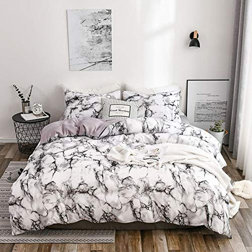 White Marble Duvet Cover Twin with Zipper Closure-Black Marble Bedding Set-3 Pcs Gray Marble Pattern Printed Comforter Cover-Ultra Soft Microfiber Bed Quilt Organic Modern Style for Men and Women