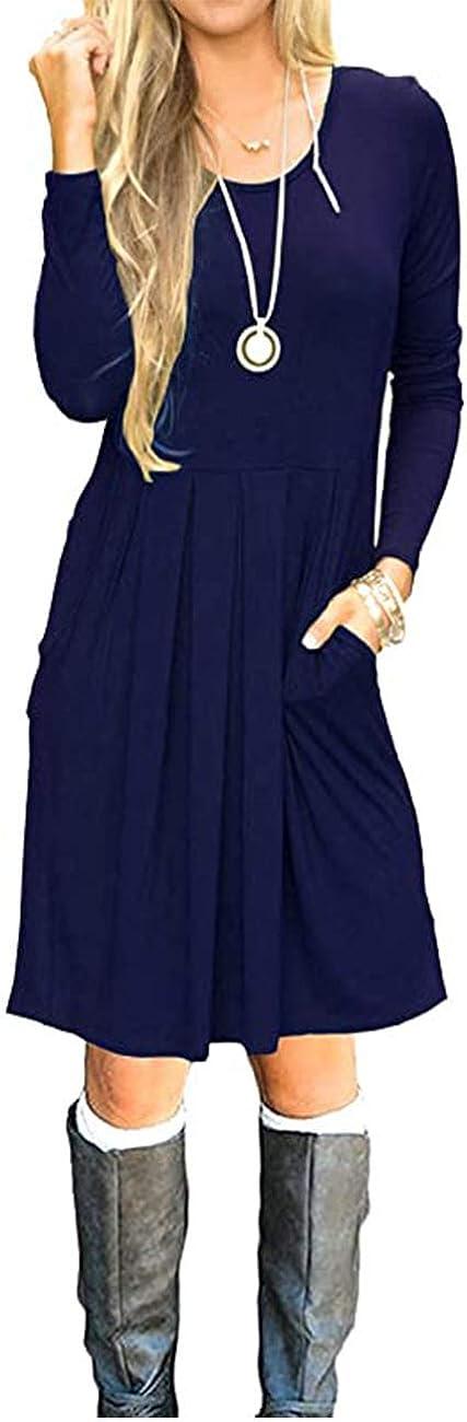 AUSELILY Damen Langarm Plissee Loose Swing Freizeitkleid mit knielangen Taschen