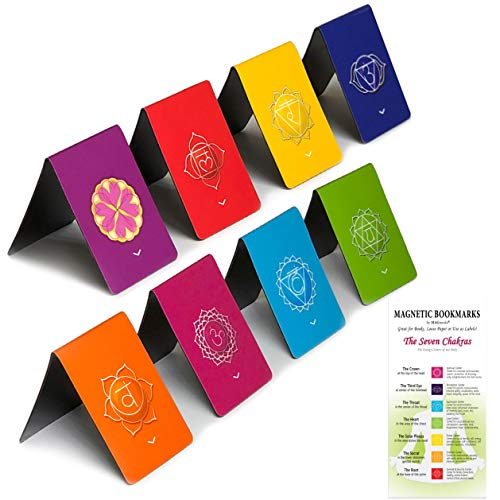 Chakra Magnetic Bookmarks with Pointers, The Original Informative Chakra Set, Authentic Designs Colorful Mandalas, Set of 8