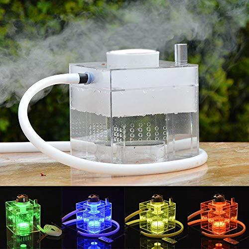 Juego de Cachimba,Micro Cubo Acrílico Moderno Cachimba con Sistema de Control de Calor Shisha Hookah Fumar Disfrute (Cuenco de cachimba/Manguera de cachimba/Luz LED mágica)