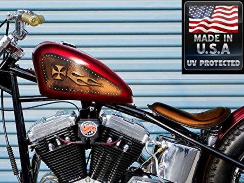 Fuel gas tank decals for Harley Davidson Sportster - Flamed Chopper Cross - Brown leather riveted 883 iron