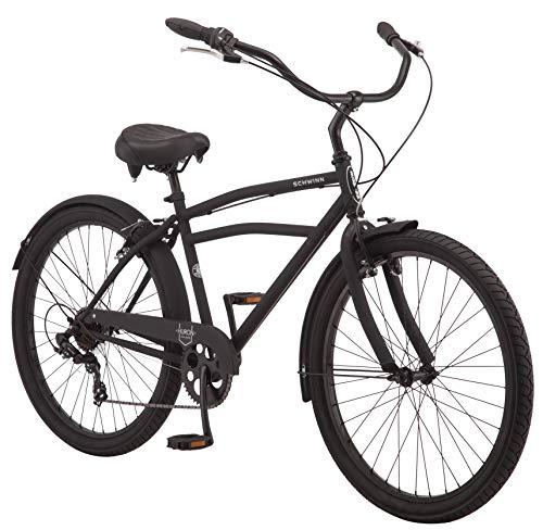 Schwinn Huron Adult Beach Cruiser Bike, Featuring 17-Inch/Medium Steel Step-Over Frames, 7-Speed Drivetrains, Black