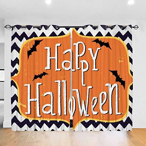 Gardinen Verdunkelungsvorhang,Halloween-Grußkarte inspirierte Design-Feier Doodle Chevron,Vorhang mit Ösen für Schlafzimmer,2er Set(260cmx180cm)