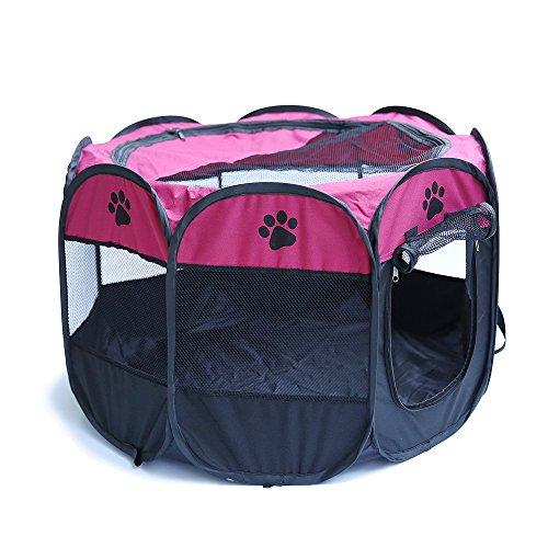 PENIVO 6 Farben-tragbares faltendes Hundehaus,Haustier Hund / Katze zelt Cage Puppy Home Kennel Achteckigen Zaun im freien Pet Übung Spielen Käfig Laufställe (90cm, Rosa)