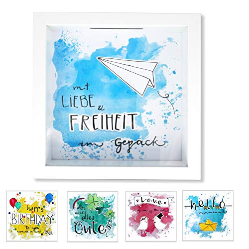 Cheers UG Bilderrahmen Spardose, Money Box mit 5 austauschbaren, handgezeichneten Motiven, 3D-Bilderrahmen mit Glasfront als Geldgeschenk & Deko, zum Aufhängen & Hinstellen, 18 x 18 x 5 cm