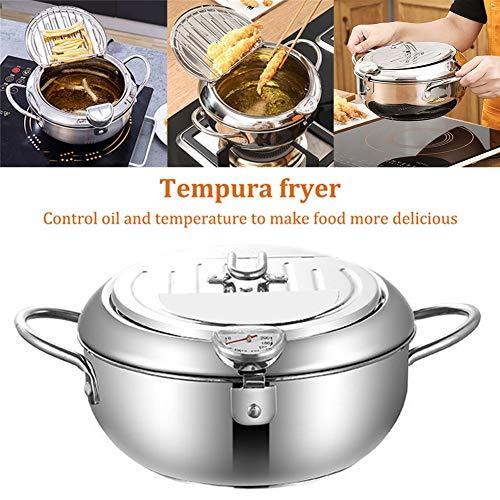 Friggitrice per controllo della temperatura, pollo fritto antiaderente Tempura in stile giapponese, friggitrice in acciaio inox con termometro, fornello a induzione universale da cucina