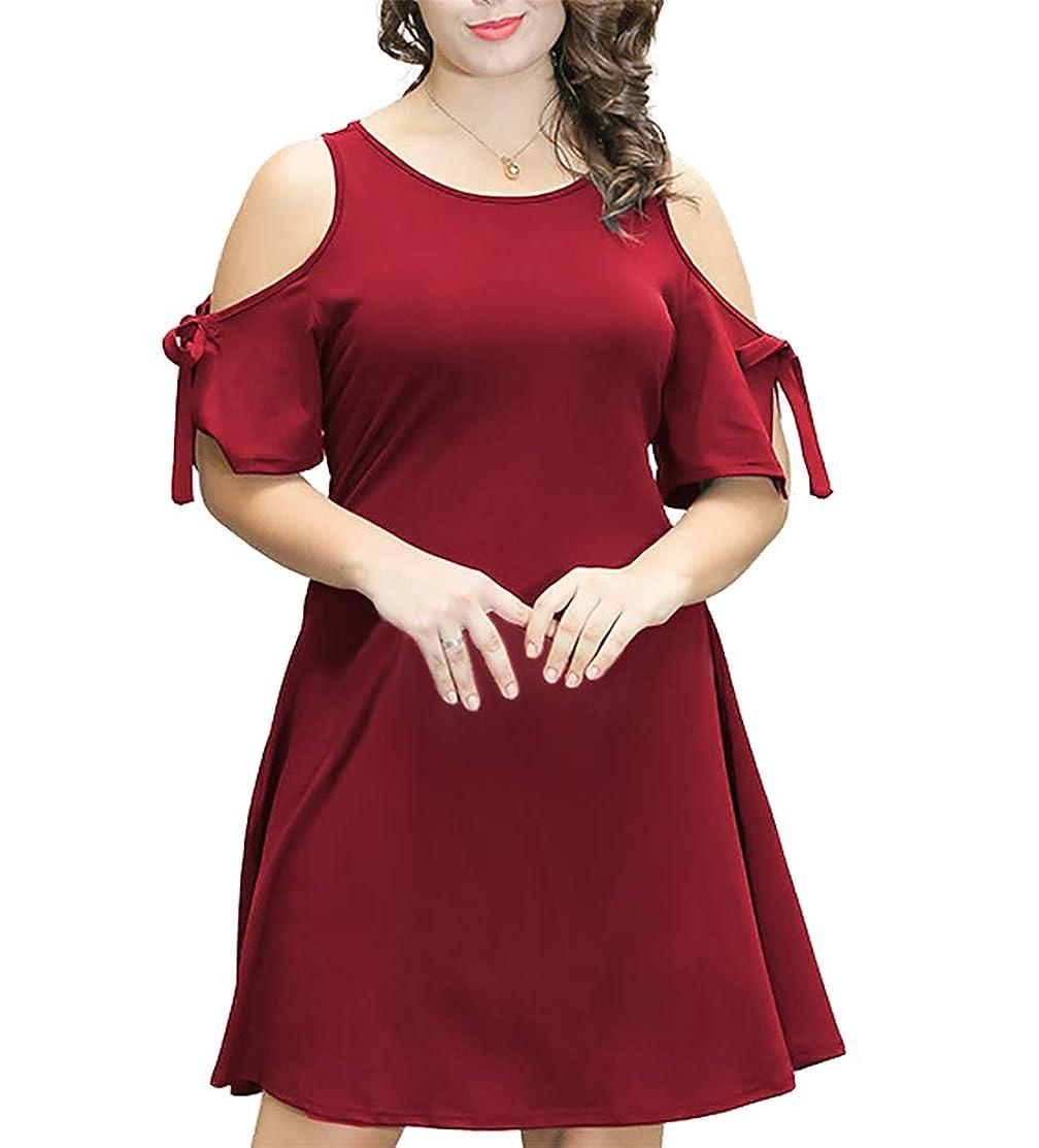 EL LEGANT Women's Plus Size Bodycon Party Dress Cold Shoulder