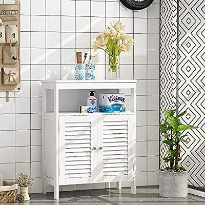 HOME BI Bathroom Storage Floor Cabinet Free Standing with Double Shutter Door (White)