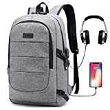 Laptop Backpack for School Travel, Fits 15.6in Computer Durable Casual Anti Theft Backpack Travel Bag, with USB Charging Port and Headphone Jack, Waterproof Large Compartment Daypacks
