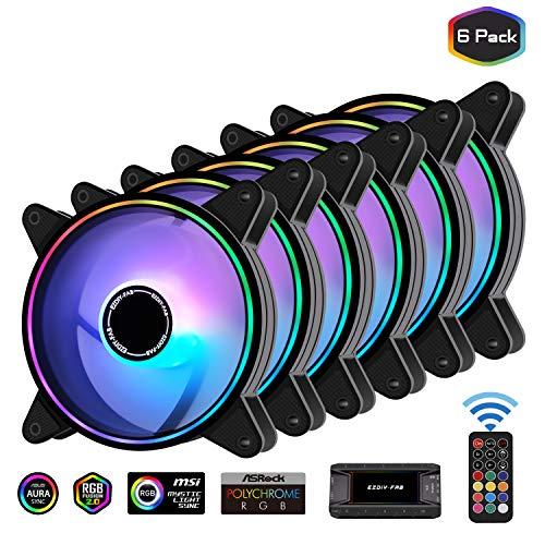 EZDIY-FAB Moonlight RGB Gehäuselüfter 120mm mit 10-Port Lüfter Hub X und Fernbedienung, Motherboard Aura Sync, Geschwindigkeitsregelung, ARGB Computer lüfter für PC Gehäuse -6 Pack