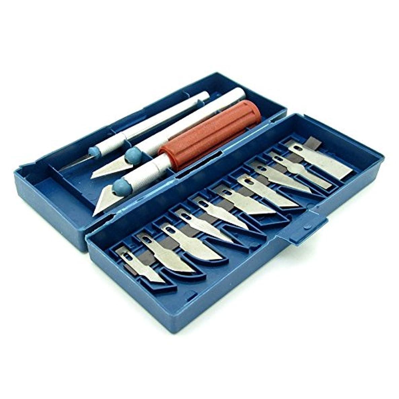 A Set 13 pcs Craft Carving Knife Razor Tool Precision Triming Cutter Set w/ Box