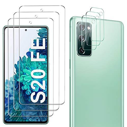 GESMA 3 Piezas Protector de Pantalla Compatible con Samsung Galaxy S20 FE, 3 Piezas Protector de Lente de Cámara, Cristal Templado de HD Anti-arañazos, 4G/5G