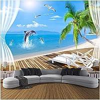 Xbwy 装飾壁画ビーチココナッツイルカ壁紙壁画リビングルーム背景壁の装飾壁画-280X200Cm
