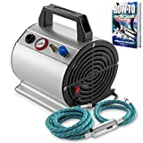 PointZero 1/6 HP Airbrush Compressor with Internal Tank and 6 Ft. Hose - Small, Quiet, Portable Air Pump