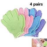 Beito - 4 paires de gants exfoliants Full Body Scrub - Douche ou Bain Spa Exfoliant Accessoires pour homme et femme - Élimine les cellules mortes pour une peau douce Améliore la circulation