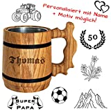 Bier Geschenk personalisiert - Holz Bierkrug mit Edelstahl Becher 0,5 L - Gravur mit Name - für Männer, Vater, Biertrinker Alternative zum Bierglas, Glaskrug, Tasse