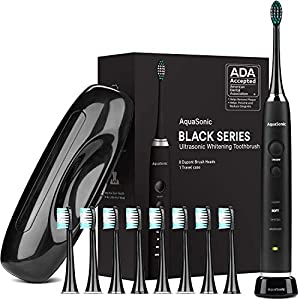 AquaSonic Black Series Ultra Whitening Toothbrush – ADA Accepted Rechargeable Toothbrush – 8 Brush Heads & Travel Case – Ultra Sonic Motor & Wireless Charging – 4 Modes w Smart Timer – Sonic Electric