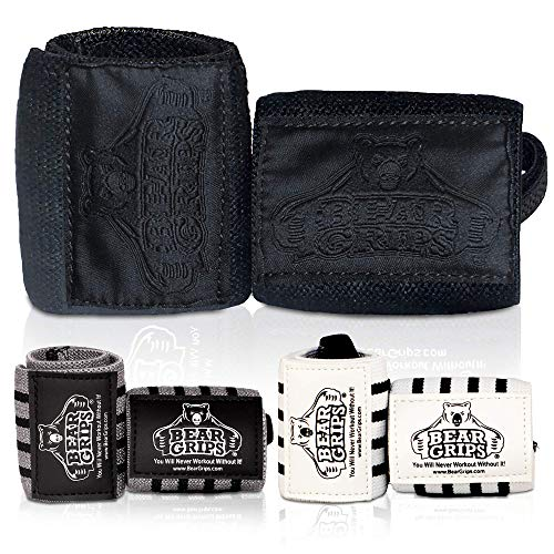 """Bear Grips Extra Strength Wrist Wraps. Superior Support Straps for Weight Lifting, Gym & Fitness Workout, Crossfit Wods. for Men & Women, Stealth Black, Size: 12"""" Length"""