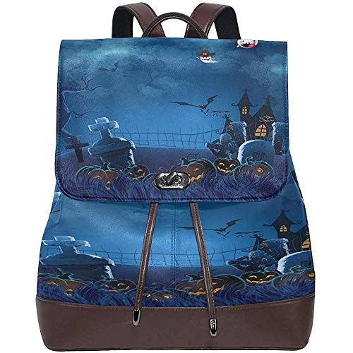 Student Bag,Halloween Pumpkin Ghost Women's PU Leather Backpack Bookbag School Shoulder Bag