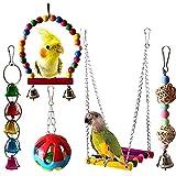 5 Piezas Juguete del Pájaro, Juguete de Loro, Juguete de Jaula de Pájaros, Juguete de Madera para Pájaros, Juguete de Campana de Pájaro, para Pequeños y Medianos Loros de Aves, Periquitos, Pinzones