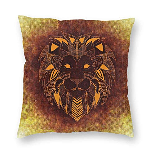 Square Throw Pillow Covers Orange Lion Pillow Cases Couch 18 X 18 Inch Christmas Decorative Cushion Covers