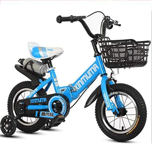 """WGYCREAM Bicicletta Bambini, Bici Bimba, Pieghevole Bambino Bike Regolabile Sport Bambini Formazione Bambini Biciclette for 2-12 Anni in Formato 12"""" 14"""" 16"""" 18"""" 20"""" (Color : Blue, Size : 18 inch)"""