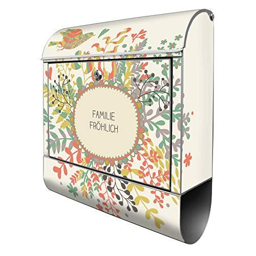 Banjado Design Briefkasten personalisiert mit Motiv WT Frühling | Stahl pulverbeschichtet mit Zeitungsrolle | Größe 39x47x14cm, 2 Schlüssel, A4 Einwurf, inkl. Montagematerial