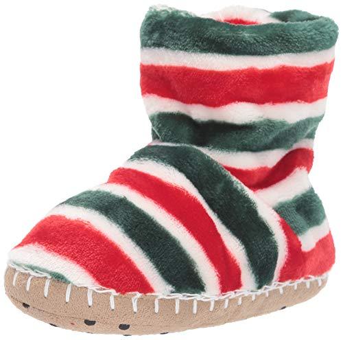 Hatley Boys' Little Fuzzy Fleece Slouch Slippers, Holiday Stripe, Medium (8-10 US Child Shoe Size)
