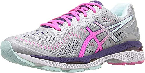 ASICS Women's Gel-Kayano 23 Running Shoe, Silver/Pink Glow/Parachute Purple, 10 M US