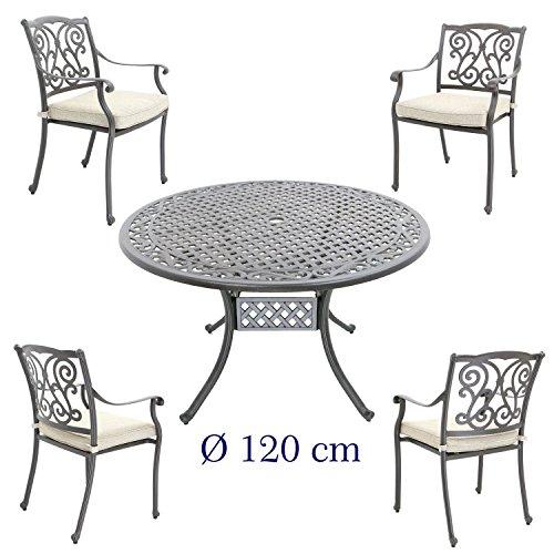 Hanseatisches Im- & Export Contor GmbH Aluguss Gartenmöbel-Set, Gartenmöbelgarnitur bestehend aus Gartentisch mit Gartenstühlen (Runder Tisch Ø 120 cm + 4 Stühle)