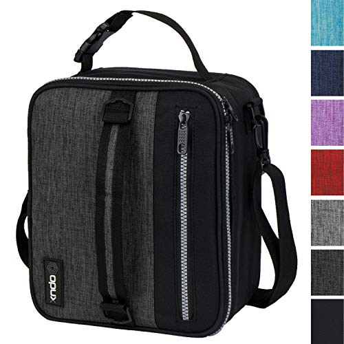 OPUX Premium Insulated Lunch Box for Men | School Lunch Bag for Boys, Kids | Compact Adult Lunch Pail Work Office Cooler | Soft, Leakproof, 4 Ways to Carry | Fits 12 Cans (Charcoal)