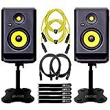 KRK Rokit RP5G4 4th Gen 5' Powered Active Studio Monitor Speakers Desktop Stands