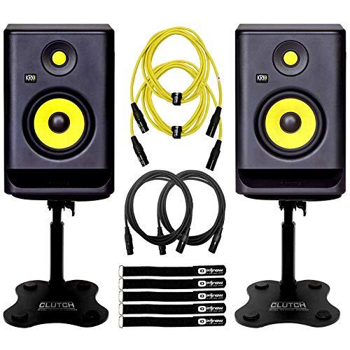 """KRK Rokit RP5G4 4th Gen 5"""" Powered Active Studio Monitor Speakers Desktop Stands"""