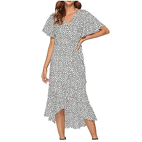 StarneA Vestido de verano para mujer, largo, sexy, cuello en V, con cordones, estilo bohemio, elegante, para vacaciones, playa, manga corta, con volantes
