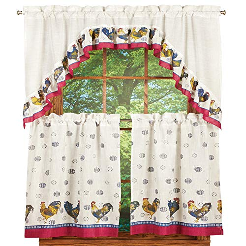 Collections Etc Rooster Complete 36 Inch Kitchen Curtain Set by United