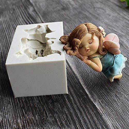 LSY Flor de hadas molde de silicona chocolate fondant bebé ángel jabón decoración de...