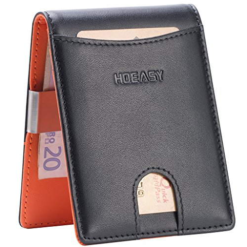 HOEASY RFID Blocking Wallet with Money Clip - Minimalist Mini Wallet Slim Wallet Travel Wallet Credit Card Holder for Men with Gift Box